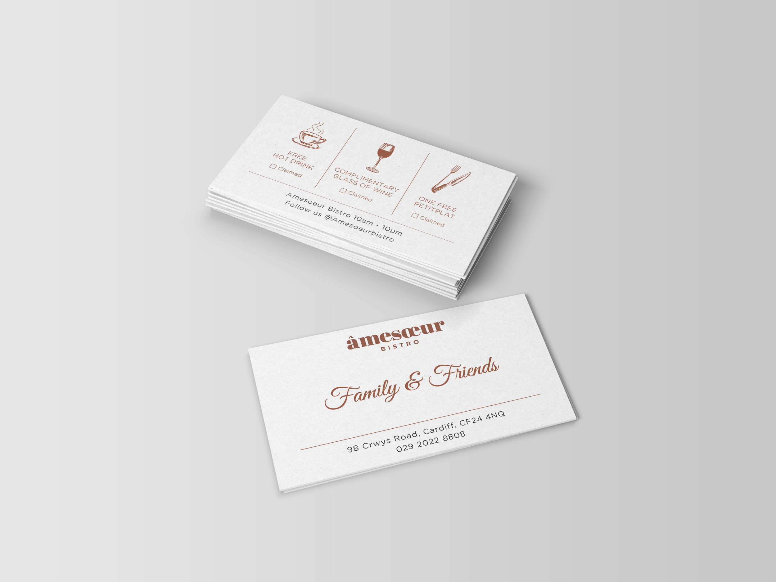 Amesoeur bistro loyalty card design Cardiff