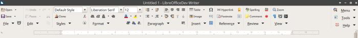 Groupedbar Notebookbar variant in LibreOffice 6 Writer