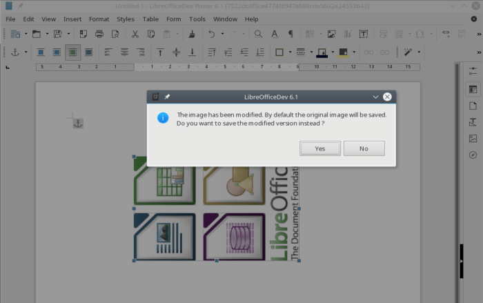 LibreOffice 6 pop up asking user whether to save the modified image