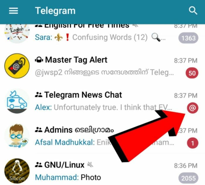 mention in telegram