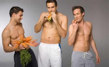 Imagen. Caballeros comiendo saludable