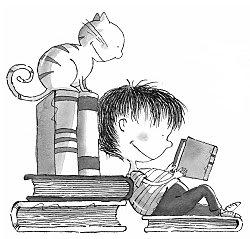 imagen niño en biblioteca
