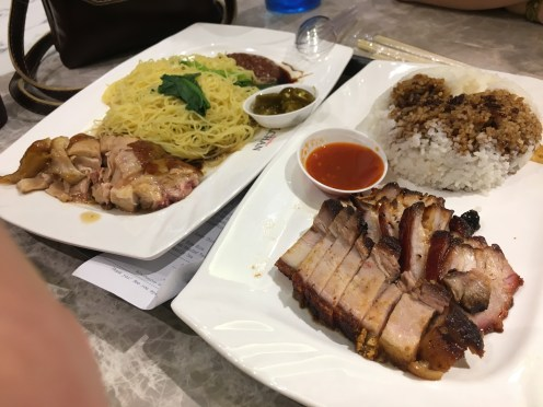 We ordered the soya chicken on noodles and cha sieu pork and rice at the michelin starred hawker stall