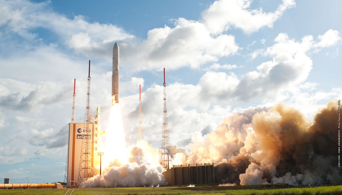 Alphasat launch by an Ariane 5 with IberEspacio Thermal Hardware Systems for Optical Laser Communications