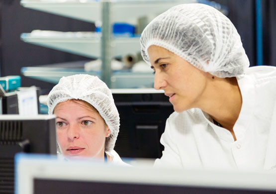 Two workers at IberEspacio during an engineering phase