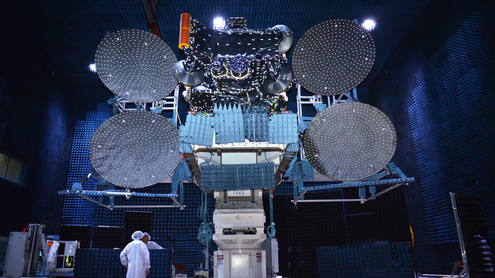 Star One C4 satellite, which includes IberEspacio Loop Heat Pipes, being tested in Space Systems Loral facilities