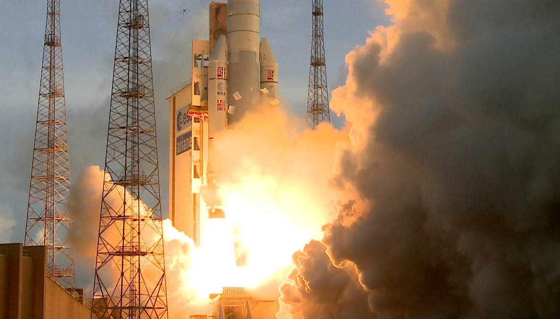 Ariane-5 mission va221 lift off with the Sky Muster satellite which includes IberEspacio Heat Pipes for thermal control