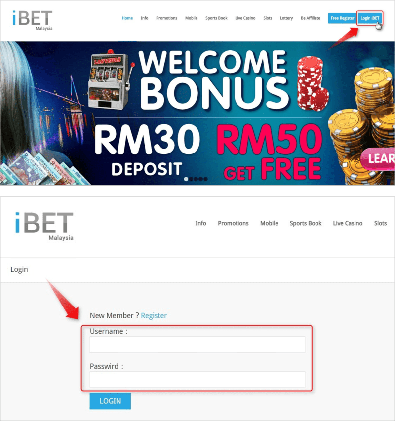 "Click the button of ""Login iBET "" on the top of homepage. Type in your ID and password."