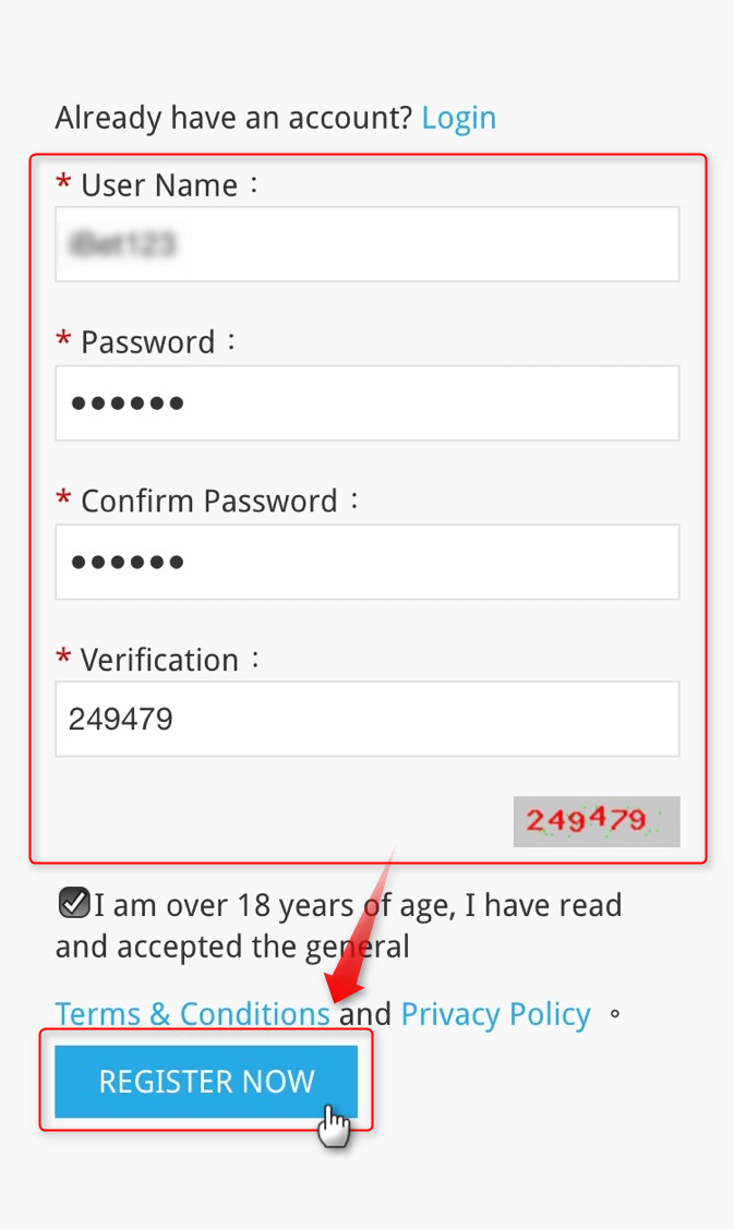 2. Choose your username and enter your chosen password twice.