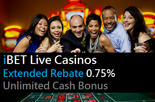 iBET Live Casinos Extended Rebate 0.75% Unlimited Cash Bonus