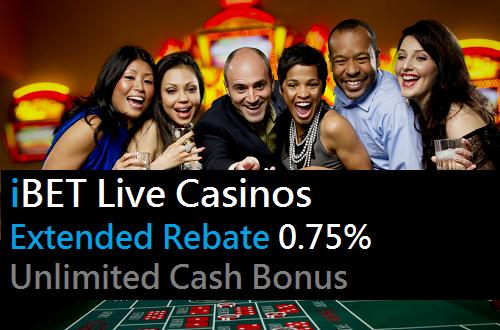 iBET Live Casinos Extended Rebate 0.75% Unlimited Cash Bonus