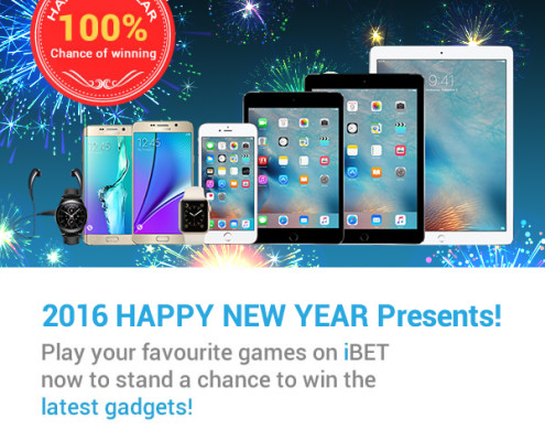 iBET Casino Promotion : Amazing Big 2016 New Year Gifts & Cash Reward!