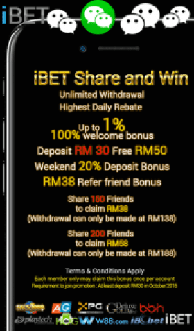 iBET Online Casino Malaysia Wechat Share Photo Bonus