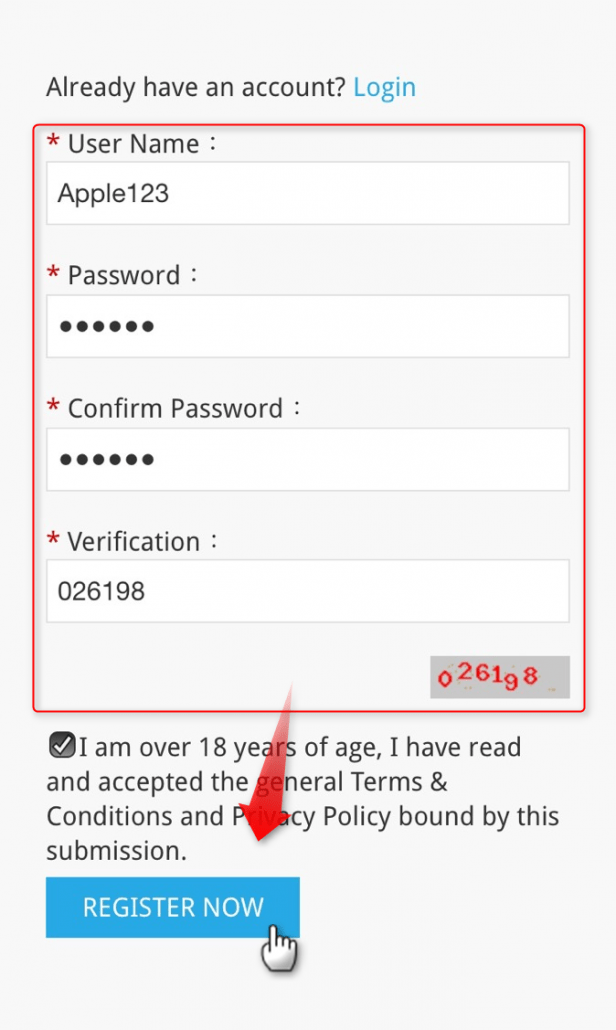 "Step 2 :Fill in your ""User Name""、""Password"" in Register page,and click ""REGISTER NOW""."