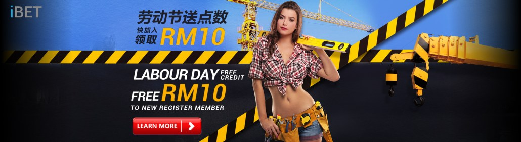 iBET Online Casino Labour Day Free RM10 to New Member