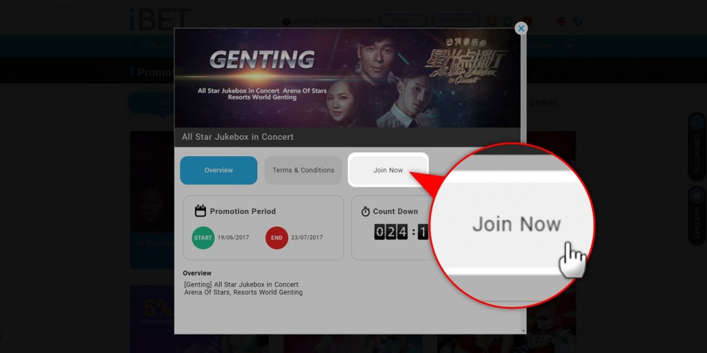 iBET Teaches You Join All Star Jukebox in Concert Lucky Draw tutorial - JOIN NOW