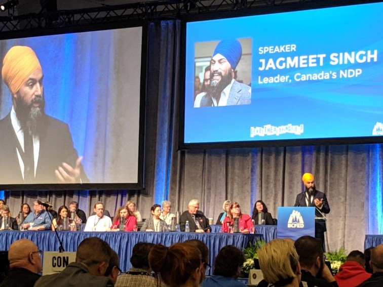 Jagmeet Singh on stage