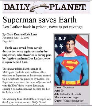 """Superman"" Handout For 2002 SLA News Division Presentation"