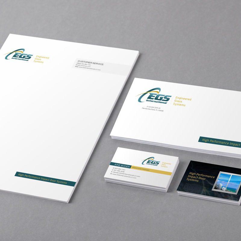 EGS International - corporate identity design - business cards, envelope, letterhead, and folders