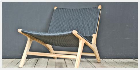Lounge Stoel houten frame vintage design  Ibiza Outdoor