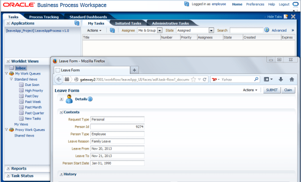 Leave Management Process Flow Oracle BPM to eBS