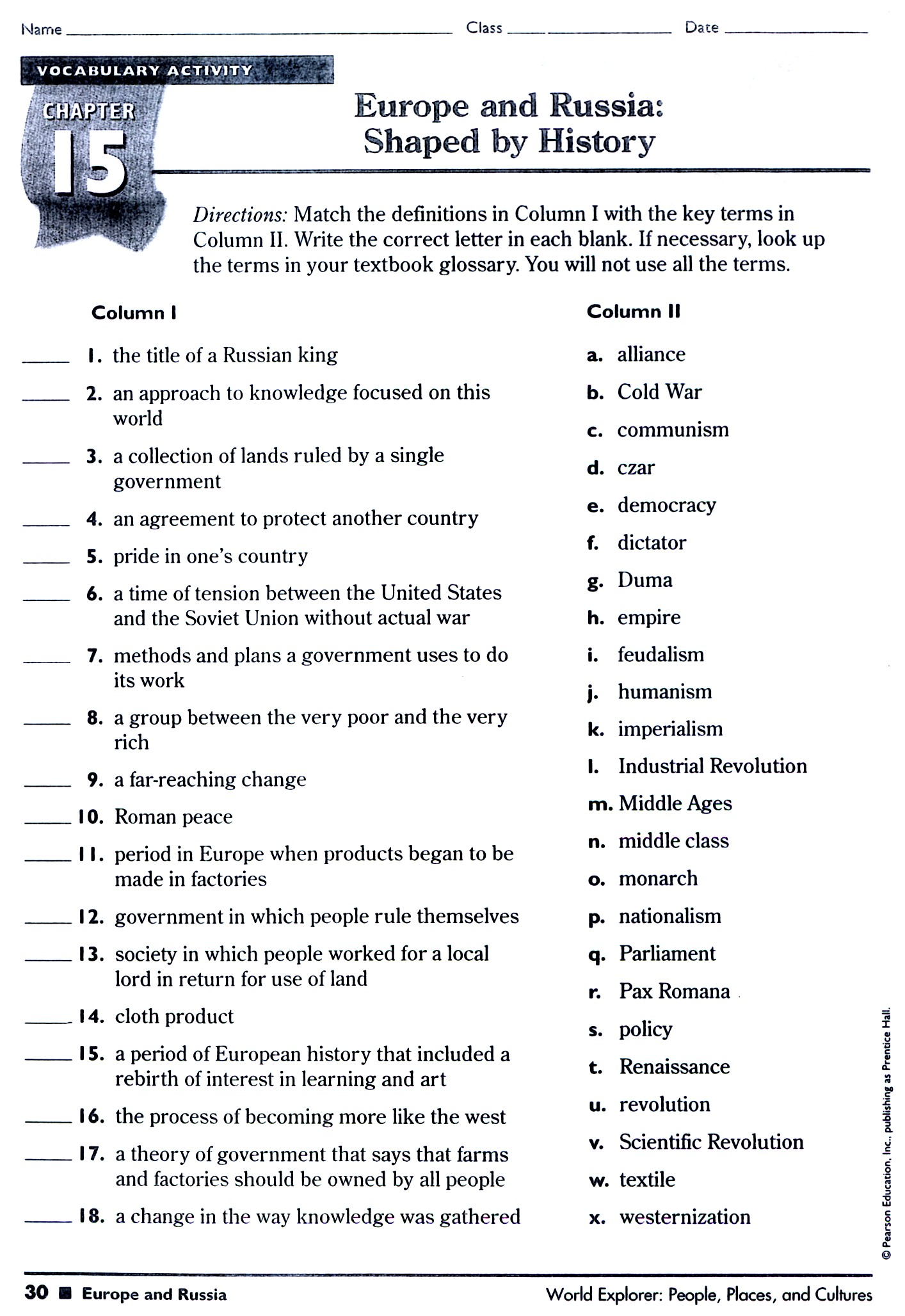 Economics Worksheet For Middle School