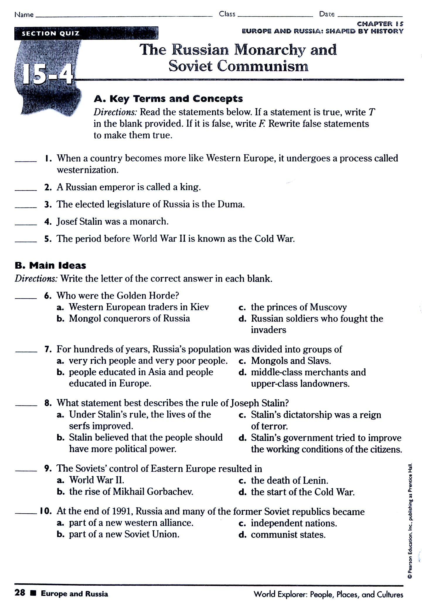 Section 1 The Cold War Begins Worksheet Answers Cold War Superpowers Face Off Chapter 33