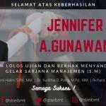 Selamat & Sukses Jennifer A. Gunawan