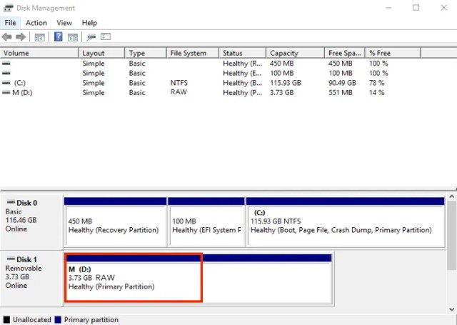 O cartão SD mostra o sistema de arquivos RAW no Gerenciamento de disco