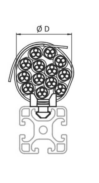 Plano de colocación del agrupador de cables para perfiles de aluminio