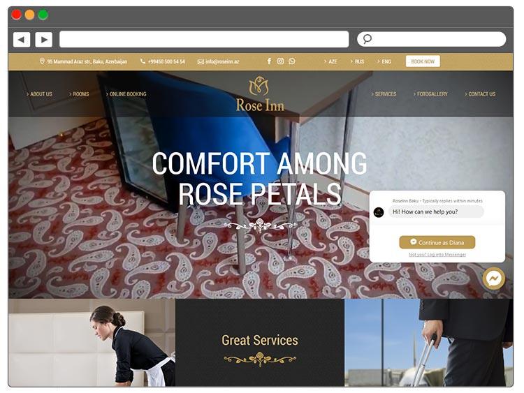 Rose Inn Hotel Baku / Saytlarin Hazirlanmasi / Создание сайтов в Баку