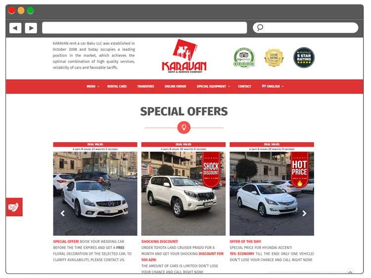 Rent a car şirkəti üçün müasir veb-sayt / Saytlarin hazirlanmasi / Создание сайтов в Баку