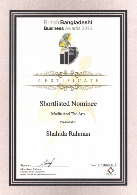 """Ibrahim's mother, Shahida Rahman, was a shortlisted nominee  in the """"Media and the Arts"""" category"""