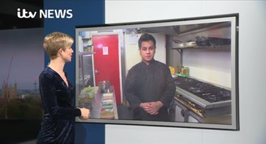 ITV News Anglia presenter Becky Jago interviews Safwaan Choudhury, Managing Director of Royston Tandoori
