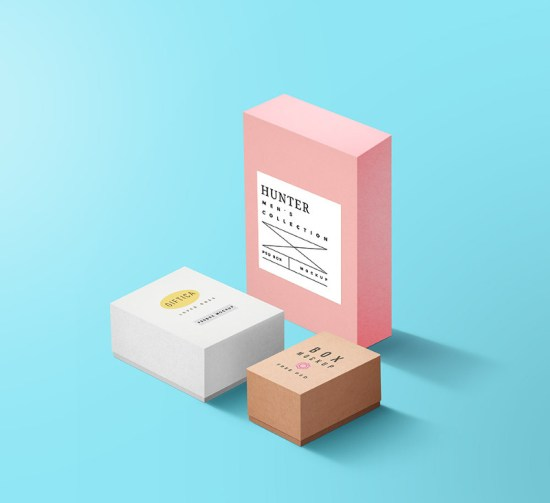 Packaging Boxes Mockup PSD por GraphicsFuel