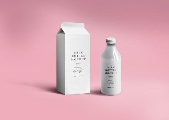 Maqueta de embalaje de leche de GraphicsFuel