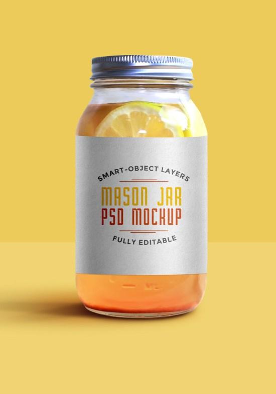Mason Jar Mockup PSD por GraphicsFuel