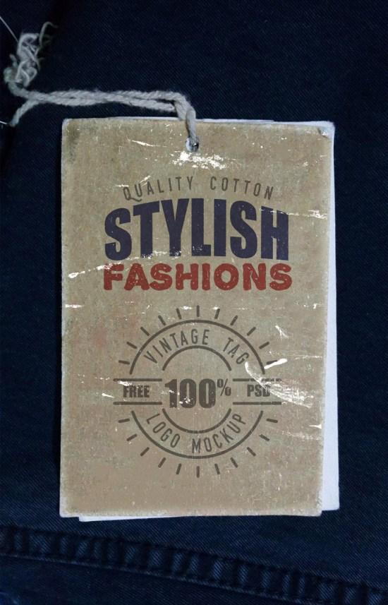 Vintage Clothing Label Mockup PSD por GraphisFuel