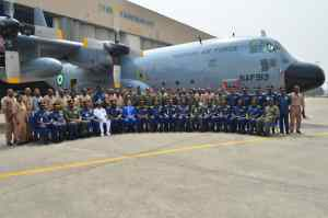 Airforce Commissions another C-130H Aircraft after in-country PDM, inducts additional vehicles for Base Defence in Lagos.