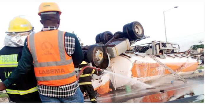 Fire explosion averted near National Stadium Lagos, as tanker somersaulted