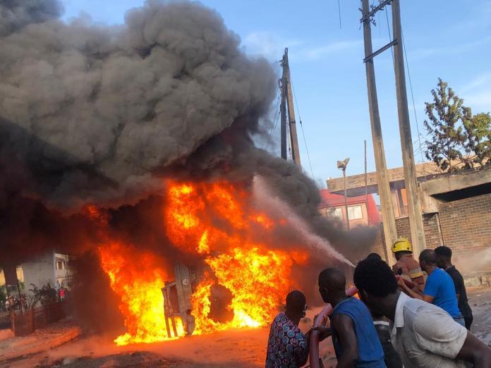One dies, 15 injure as fire guts tanker in Lagos