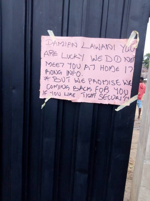 'You're lucky we didn't meet you at home' - Gunmen drops note at Politician gate