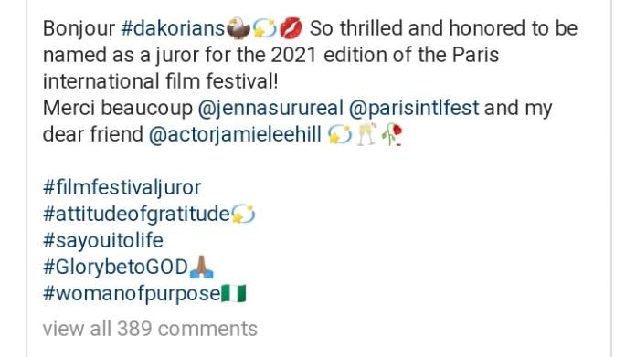 Nigerian Actress Dakore Egbuson- Akande Becomes Jury Member For Paris International Film Festival