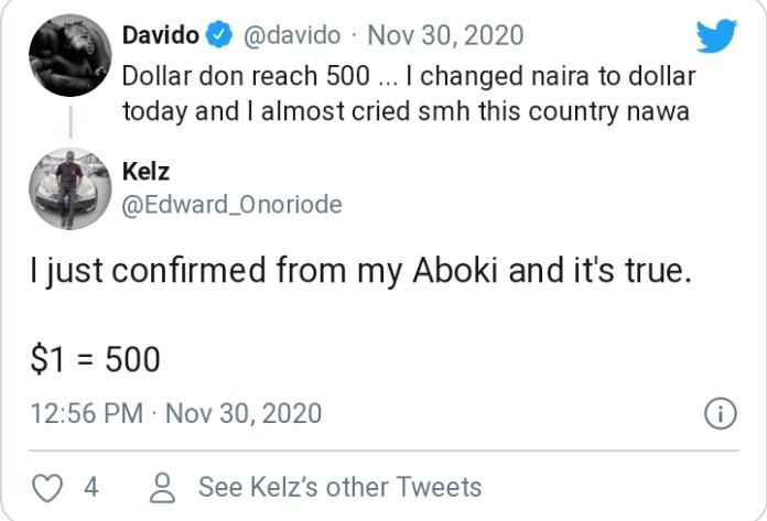 Singer Davido Laments As He Changes Naira To Dollar