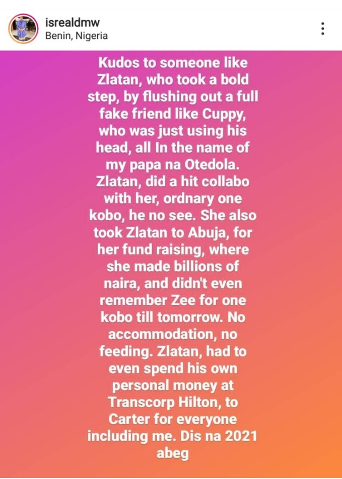 Davido's PA Finally Reveal What Transpired Between Zlatan And Cuppy