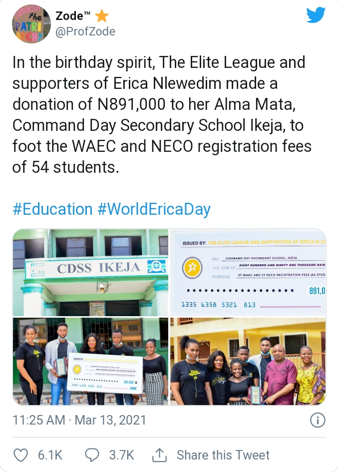 Lagos Elite Gives N891K To Erica's Secondary School To Celebrate Her Birthday