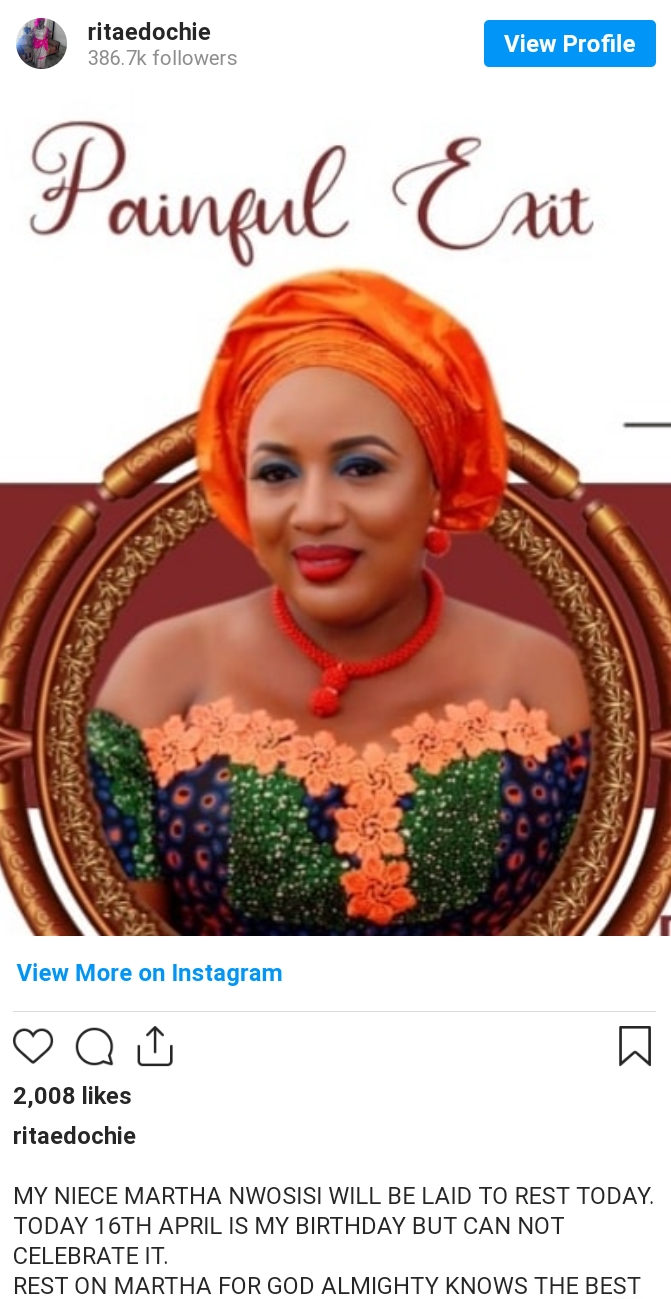 Rita Edochie Reveals Why She Can't Celebrate Her Birthday Today