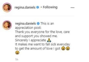 Regina Daniels Appreciate Fans After Surgery, Says Their Love Makes Her Want To Fall Sick Again