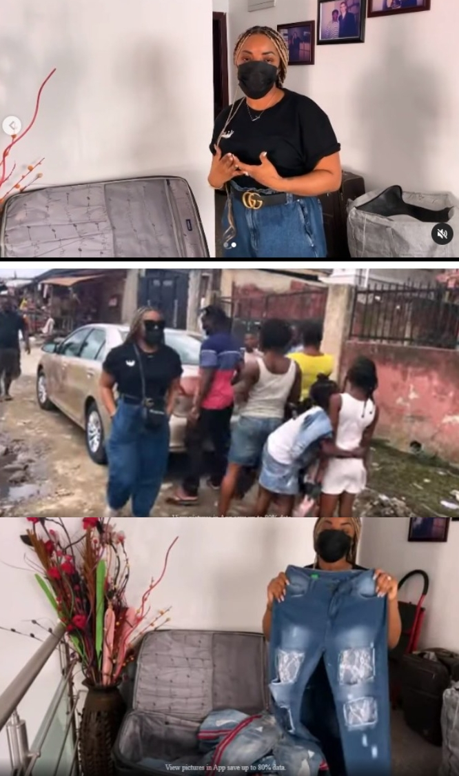Laura Ikeji Gives Out 100 Pairs Of Jeans To The Needy