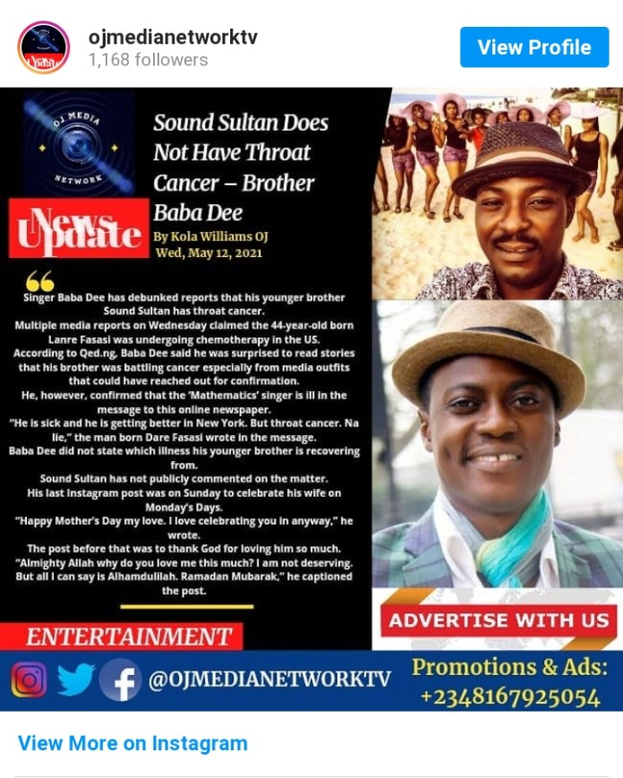 Sound Sultan Does Not Have Throat Cancer, Brother Baba Dee Reveals